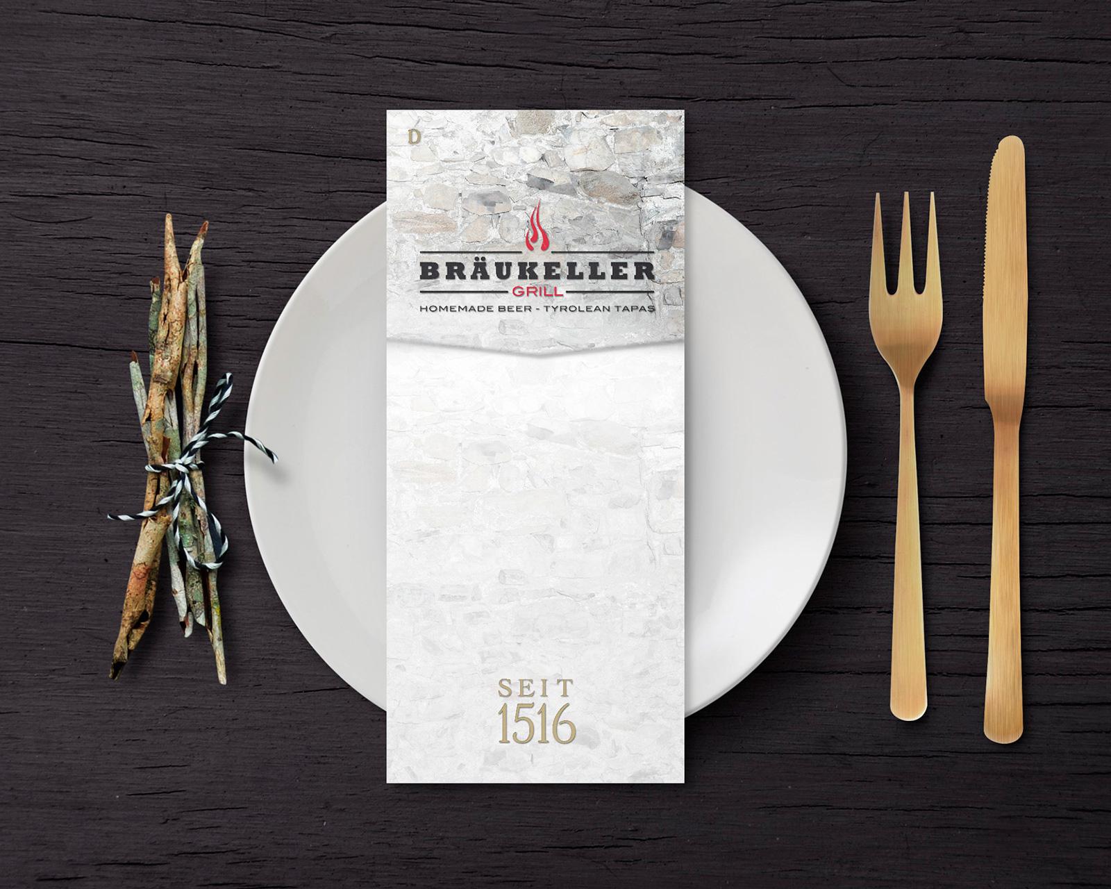 Logo & Menü – Bräukeller Grill, Klosterbräu Seefeld